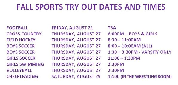 Fall Sports Try Outs